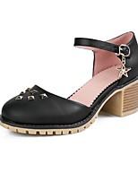 Недорогие -Жен. Балетки D'Orsay Полиуретан Весна лето Обувь на каблуках На толстом каблуке Круглый носок Заклепки Белый / Черный / Бежевый