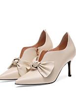 Недорогие -Жен. Комфортная обувь Наппа Leather Лето Ботинки На плоской подошве Черный / Бежевый