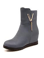 billiga -Dam Fashion Boots Imitationsläder Höst vinter Stövlar Kilklack Rundtå Korta stövlar / ankelstövlar Grå / Gul / Vinröd