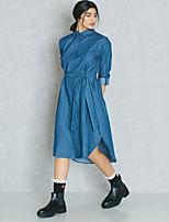 abordables -Femme Chic de Rue / Elégant Toile de jean / Chemise Robe - Lacet, Couleur Pleine Maxi