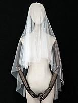 Недорогие -Два слоя Классика / Винтажная коллекция Свадебные вуали Фата до локтя с Искусственный жемчуг / Отделка Тюль