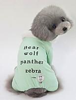 baratos -Cachorros Casacos Roupas para Cães Personagem / Slogan Verde / Azul / Rosa claro Terylene Ocasiões Especiais Para animais de estimação Unisexo Estilo Romântico / Aquecimento