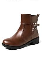 Недорогие -Жен. Fashion Boots Полиуретан Весна Ботинки На низком каблуке Закрытый мыс Ботинки Черный / Синий / Темно-коричневый