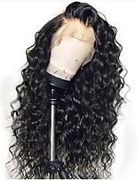 Недорогие -человеческие волосы Remy Необработанные натуральные волосы Полностью ленточные Парик Бразильские волосы Свободные волны Черный Парик Стрижка каскад 130% Плотность волос / Природные волосы