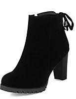Недорогие -Жен. Fashion Boots Замша Осень Ботинки На толстом каблуке Закрытый мыс Ботинки Черный / Коричневый / Миндальный