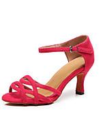 abordables -Femme Chaussures Latines Daim Sandale / Basket Mince haut talon Personnalisables Chaussures de danse Rouge foncé