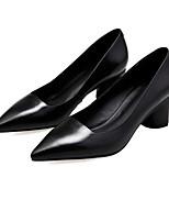 Недорогие -Жен. Балетки Наппа Leather Весна Обувь на каблуках На толстом каблуке Черный / Бежевый / Розовый