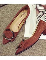 Недорогие -Жен. Комфортная обувь Замша Весна & осень Обувь на каблуках На толстом каблуке Черный / Оранжевый / Миндальный