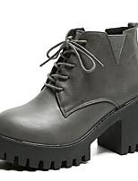 Недорогие -Жен. Армейские ботинки Полиуретан Наступила зима На каждый день Ботинки Блочная пятка Круглый носок Ботинки Черный / Серый