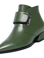 Недорогие -Жен. Fashion Boots Полиуретан Осень Ботинки На низком каблуке Заостренный носок Черный / Зеленый