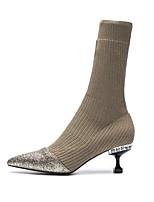Недорогие -Жен. Комфортная обувь Искусственная кожа Наступила зима Ботинки Гетеротипическая пятка Черный / Миндальный