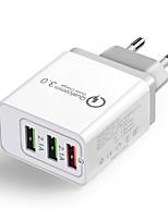 baratos -Carregador Portátil Carregador USB Ficha EU Output Múltiplo / QC 3.0 3 Portas USB 2.1 A 100~240 V para iPhone X / iPhone 8 Plus / iPhone 8