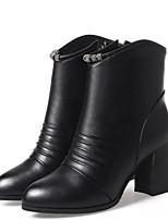 Недорогие -Жен. Fashion Boots Полиуретан Осень Ботинки На толстом каблуке Закрытый мыс Ботинки Черный / Красный / Темно-зеленый