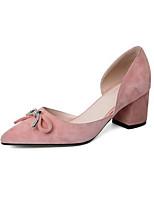Недорогие -Жен. Комфортная обувь Замша Лето Обувь на каблуках На толстом каблуке Черный / Лиловый / Розовый