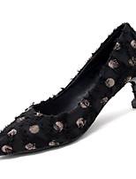 Недорогие -Жен. Балетки Полиуретан Осень На каждый день Обувь на каблуках На каблуке-рюмочке Черный / Розовый / Повседневные