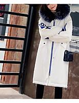 Недорогие -Жен. Повседневные Однотонный Длинная На подкладке, Полиэстер Длинный рукав Капюшон Белый / Черный M / L / XL