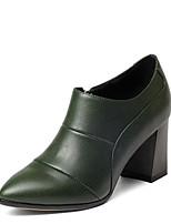 Недорогие -Жен. Fashion Boots Наппа Leather Осень Ботинки На толстом каблуке Закрытый мыс Ботинки Черный / Темно-зеленый