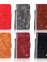 Недорогие -Кейс для Назначение Huawei P smart / Huawei Mate 20 Pro Кошелек / Бумажник для карт / со стендом Чехол Однотонный Твердый Кожа PU для P smart / Huawei P Smart Plus / Mate 10
