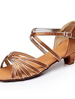 abordables -Femme Chaussures Latines Satin Talon Talon épais Personnalisables Chaussures de danse Bronze / Bleu marine