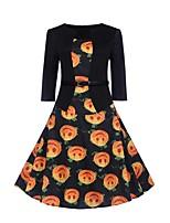 baratos -Mulheres Moda de Rua / Elegante Bainha Vestido - Estampado, Fruta Altura dos Joelhos