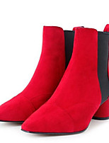 Недорогие -Жен. Fashion Boots Замша Осень Ботинки На толстом каблуке Закрытый мыс Ботинки Черный / Красный