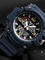 Недорогие -SKMEI Муж. Спортивные часы Японский Цифровой 50 m Защита от влаги Календарь Хронометр PU Группа Аналого-цифровые На каждый день Мода Черный / Красный / Хаки - Серый Синий Черный / серый