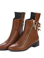 Недорогие -Жен. Комфортная обувь Полиуретан Наступила зима Ботинки На плоской подошве Черный / Темно-русый
