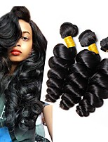 Недорогие -3 Связки Индийские волосы Свободные волны Натуральные волосы Человека ткет Волосы / Пучок волос / One Pack Solution 8-28 дюймовый Нейтральный Естественный цвет Ткет человеческих волос