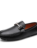 Недорогие -Муж. Комфортная обувь Кожа Весна лето Классика Мокасины и Свитер Дышащий Белый / Черный