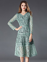 Недорогие -Жен. Изысканный / Элегантный стиль А-силуэт Платье - Однотонный, Кружева Средней длины