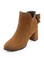 Недорогие -Жен. Fashion Boots Полиуретан Наступила зима Ботинки На толстом каблуке Ботинки Черный / Бежевый / Коричневый