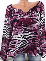 Недорогие -женский плюс размер хлопка свободная футболка - леопард v шея