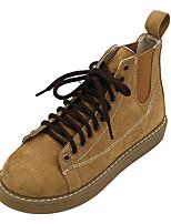 Недорогие -Жен. Армейские ботинки Полиуретан Осень Ботинки На плоской подошве Круглый носок Сапоги до середины икры Черный / Бежевый / Коричневый