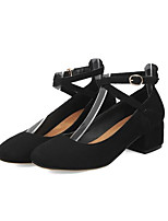 Недорогие -Жен. Комфортная обувь Замша Весна Обувь на каблуках На толстом каблуке Черный / Серый / Миндальный