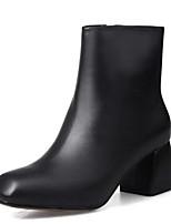 Недорогие -Жен. Fashion Boots Наппа Leather Осень Ботинки На толстом каблуке Закрытый мыс Ботинки Черный / Вино