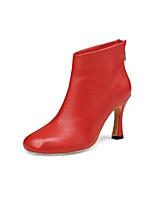 Недорогие -Жен. Fashion Boots Овчина Осень Ботинки На шпильке Закрытый мыс Ботинки Черный / Бежевый / Красный