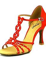 abordables -Femme Chaussures Latines Satin Talon Talon Bobine Chaussures de danse Rose / Amande / Chair