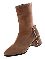 Недорогие -Жен. Fashion Boots Полиуретан Осень Минимализм Ботинки На толстом каблуке Круглый носок Сапоги до середины икры Черный / Хаки