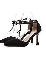 Недорогие -Жен. Комфортная обувь Замша Лето Обувь на каблуках На шпильке Черный / Коричневый / Розовый
