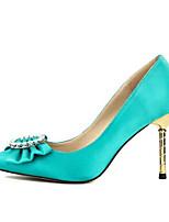 baratos -Mulheres Sapatos Confortáveis Cetim Primavera Saltos Salto Agulha Preto / Azul / Casamento / Diário