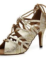abordables -Femme Chaussures Latines Cuir Verni Sandale Ruban Mince haut talon Chaussures de danse Or / Blanc / argent