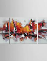 abordables -Peinture à l'huile Hang-peint Peint à la main - Abstrait Moderne Toile / Trois Panneaux