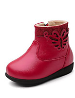 Недорогие -Девочки Обувь Кожа Наступила зима Обувь для малышей / Меховая подкладка Кеды Бант / Пайетки / Молнии для Дети / Дети (1-4 лет) Черный / Красный