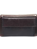baratos -sacos de mulheres napa zíper de embreagem de couro marrom / marrom escuro