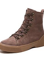 Недорогие -Жен. Армейские ботинки Полиуретан Зима На каждый день Ботинки На низком каблуке Сапоги до середины икры Черный / Хаки