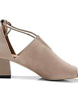 Недорогие -Жен. Комфортная обувь Замша / Овчина Лето Обувь на каблуках На толстом каблуке Черный / Миндальный