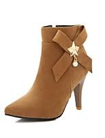 Недорогие -Жен. Fashion Boots Полиуретан Наступила зима Ботинки На шпильке Заостренный носок Сапоги до середины икры Черный / Желтый