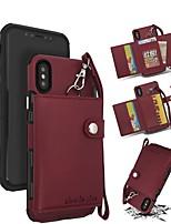 Недорогие -Кейс для Назначение Apple iPhone XR / iPhone XS Max Кошелек / Бумажник для карт Кейс на заднюю панель Однотонный Твердый Кожа PU для iPhone XS / iPhone XR / iPhone XS Max
