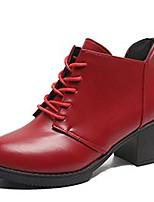 Недорогие -Жен. Fashion Boots Полиуретан Осень На каждый день Ботинки Блочная пятка Сапоги до середины икры Черный / Красный