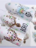 Недорогие -5 pcs Наклейка для переноса воды Elk / Цветы маникюр Маникюр педикюр Лучшее качество модный / Мода Рождество